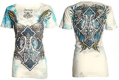 Archaic AFFLICTION Womens T-Shirt BIRD CAGE Cross Tattoo Biker Sinful S-XL $38 b