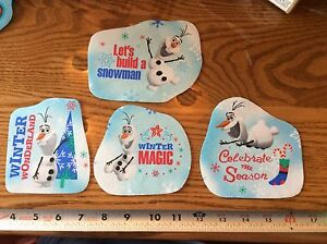 Frozen-disney-iron-on-Appliques-OLAF-Christmas-set-of-4-style-10