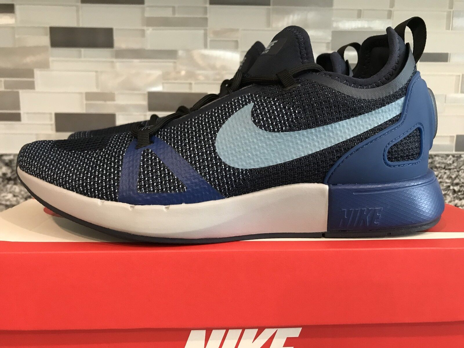New Nike Duel Racer Mens Sz 8 Running shoes bluee Black Obsidian 918228-005