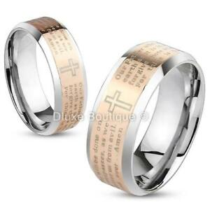 Stainless-Steel-Rose-Gold-IP-Lord-039-s-Prayer-amp-Cross-Two-Tone-Ring-Band-Size-5-13