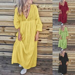 ZANZEA-Women-Low-Cut-Bohemian-Long-Maxi-Dress-Summer-Holiday-Shirt-Dress-Plus