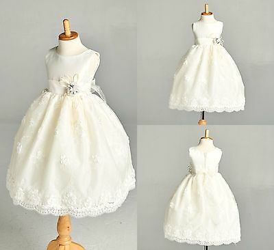 Ivory Easter Flower Girl Bridesmaids Summer Wedding Pageant Recital Dress #011