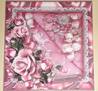 Handmade Greeting Card 3D All Occasion With Pink Roses And Lace