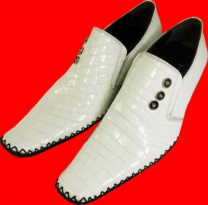 Original Pablo Picasso - Top Italienischer Designer Slipper Krokodesign weiß 39