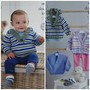 9c2ab466b Image is loading KNITTING-PATTERN-Baby-Striped-Hooded-Jumper-Cardigan-amp-