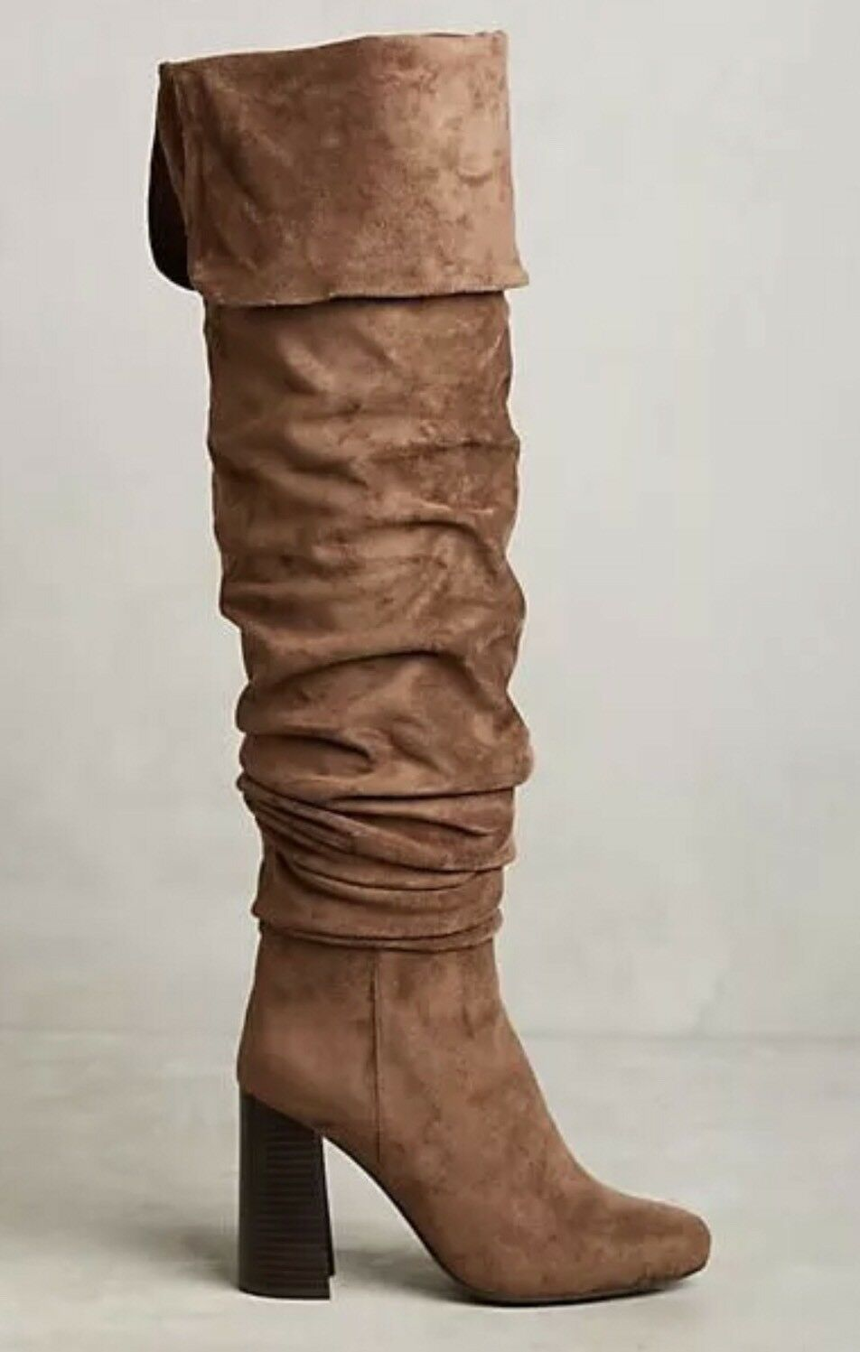 NEW Jeffrey Campbell Intrigue Ruched OTK Suede Stiefel in in in braun Cocoa Größe 8 1a23c7