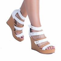 WOMENS LADIES STRAP PARTY PEEPTOE PLATFORM HIGH HEEL WEDGES SHOES SANDALS SIZE
