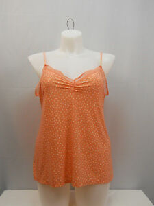 George-Women-039-s-Camisole-Top-Spaghetti-Straps-Lace-Trim-Orange-Polka-Dot-SIZE-XL