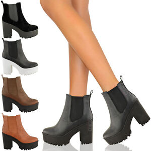 NEW-LADIES-WOMENS-HIGH-HEEL-BLOCK-PLATFORM-LOW-ANKLE-CHELSEA-BOOTS-SHOES-SIZE