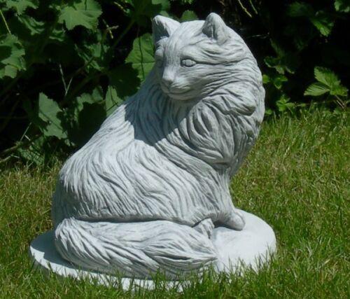Figur Katze sitzend H 28 cm Tierfigur Gartenfigur aus Beton