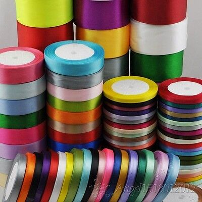 """25Yard/1roll Mix Color/Size Satin Ribbon From1/4"""" to 2"""" Craft Wedding R001-R182"""