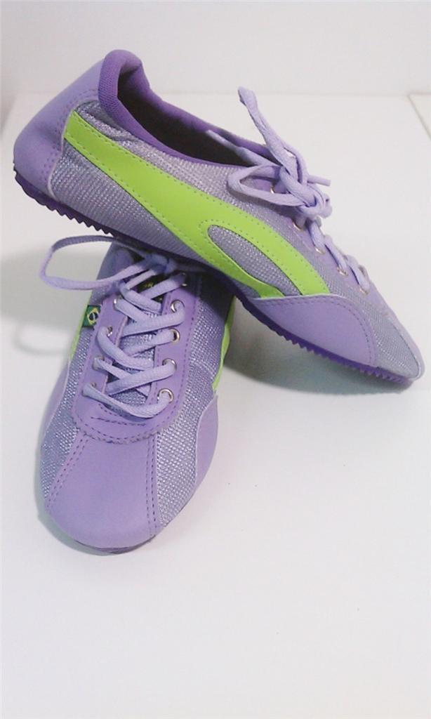 Taygra Brasilien púrpura & verde Schmal zapatillas Flexibel & Hell Schuh Talla 39