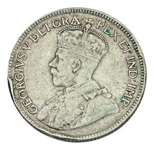 1929-Canada-25-Cents-Coin-Very-Fine-VF-Condition-KM-24a