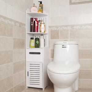 Modern White Bathroom Cabinet Shelf Toilet Corner Cupboard Storage Unit Standing Ebay