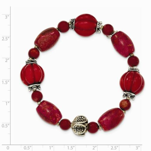 .925 Sterling Silver Antiqued Beads /& Red Coral Stretch Bracelet MSRP $140
