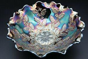 Antique*Fenton*Carnival Glass*Bowl*HOLLY*Cobalt Blue*Iridescent*Scalloped edge*