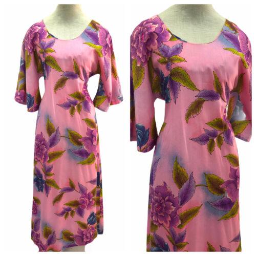 Vintage VTG 1970s 70s Pake Muu Pink Floral Patter… - image 1