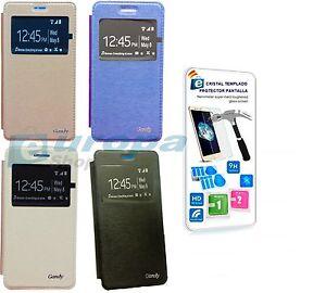 Funda-Libro-Flip-ventana-tarjetero-Huawei-Y5-II-Y6-II-Compact-2-dos-Protector