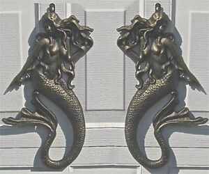Set of 2 Mermaid Wall Sculptures - 17 1/2 High -Iron with Antique Gold Finish