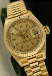 ROLEX-Ladies-18kt-Gold-Datejust-PRESIDENT-Champagne-Stick-69178-SANT-BLANC