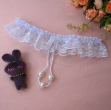 Women's Open Crotch Lace Thong with Pearls G String Sexy Beading Panties White