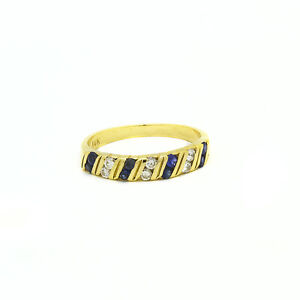 14k-Oro-Amarillo-Diamante-Zafiro-Azul-Anillo-de-Banda-Size-5-5-Septiembre