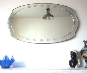 Details About Oval Frameless Antique Art Deco Wall Mirror 1920s Vintage Large Bevelled Edge