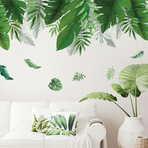 Summer Green Leaf Wall Sticker Background Living Room Art Decals Home n