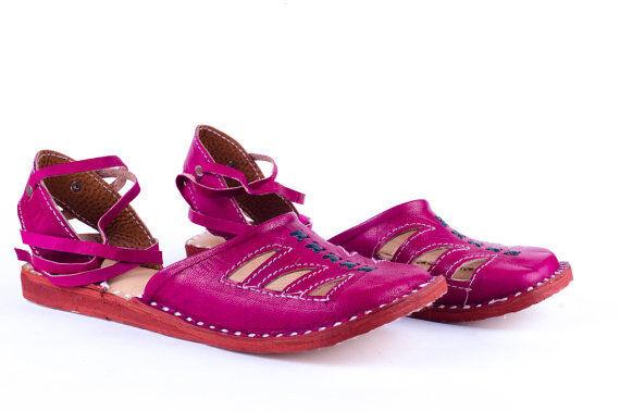 New Leather Handmade Pink Women sandal Leather Leather sandal slipper Cheap Designer Shoes 80355e