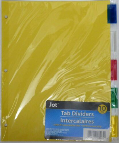 Jot Standard 3-Ring Binder Tab Dividers with Tabs Mixed Colors ~ 1 Pack