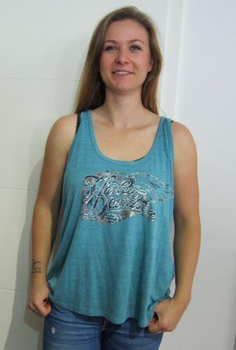 Gr Tanktop Glitzer Neu 14vw Shirt Blau Harley L davidson Etikett Ladies 96363 8XEq1Rwx