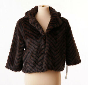 Massimo-Womens-Brown-Black-Faux-Fur-Fuzzy-Winter-Coat-Size-Small-NWT