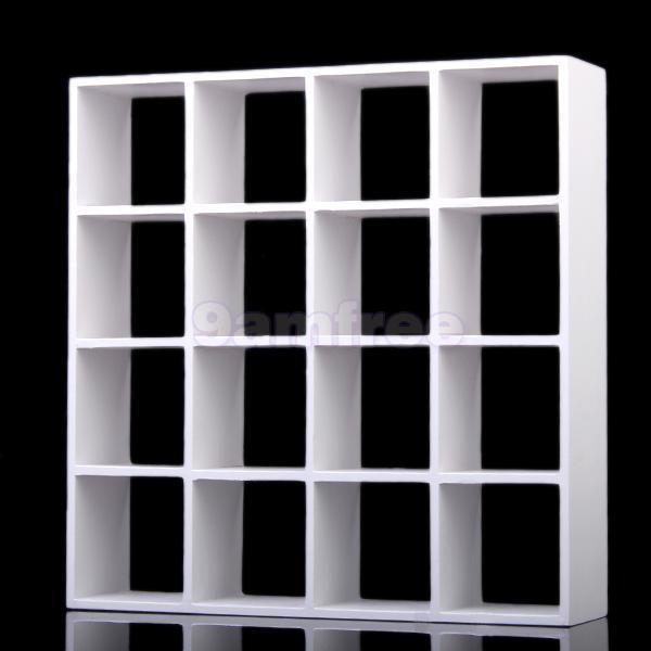 Dollhouse Miniature 16 Grid wooden Display Shelf Stand White Wood Furniture 1/12