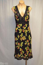 BeBe SWEET CHERRY W/BLACK WAIST LACE TRIM SLEVELESS FITTED DRESS WOMEN M
