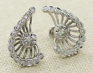 Antique 14k White Gold 0 70ct Old Mine Cut Diamond Screw Back Earrings Ebay