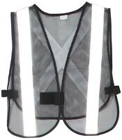 Dark Mesh Safety Vest With White Reflective Strip, Front And Back