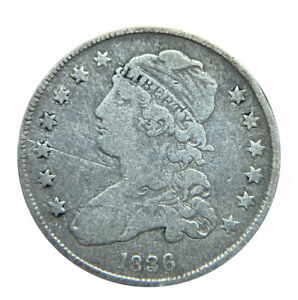 1836 Very Good VG Capped Bust Silver US Quarter 25C