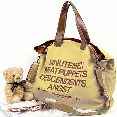 Women's Practical Large Big Canvas Letter Tote Messenger Handbag Shoulder Bag