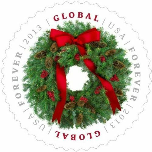 2013 $1.10 Christmas Wreath, Pine Cone, Global Forever