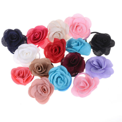 5pc Rose Flowers Hair Bands Rubber Hair Accessories For Girls Women RS