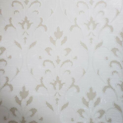 Wallpaper beige white Metallic Textured Flocking rustic Damask Flocked Velvet 3D
