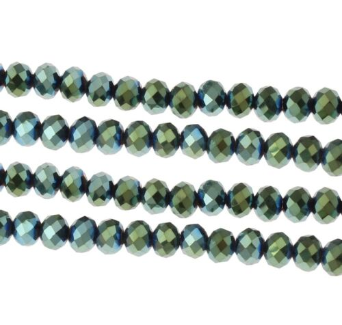 25 checa vaso de cristal perlas 6mm Fire-polished metallik verde azul x258