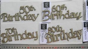 CHIPBOARD-Year-50-60-70-amp-80th-Birthday-WORDS-x-4-Designs-Scrap-FX-Choice-W2