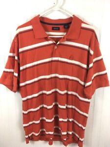 cb6bdc480de Izod Men's XL Striped Orange Polo Rugby Shirt Short Sleeve Cotton ...