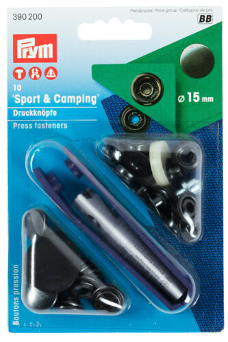 Prym Nähfrei-Druckknöpfe mit Werkzeug 15mm brüniert 10St Sport Camping 390200