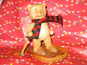 Details About Robert Raikes Skiing Carved Wooden Teddy Bear Kirsten 5 593