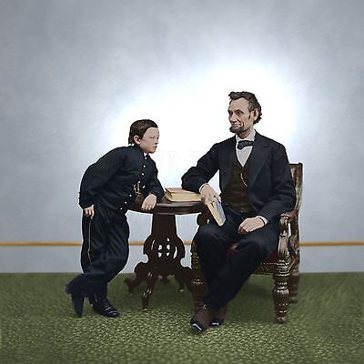 President Abraham Lincoln Tad Son family boy Color Tinted photo Civil War