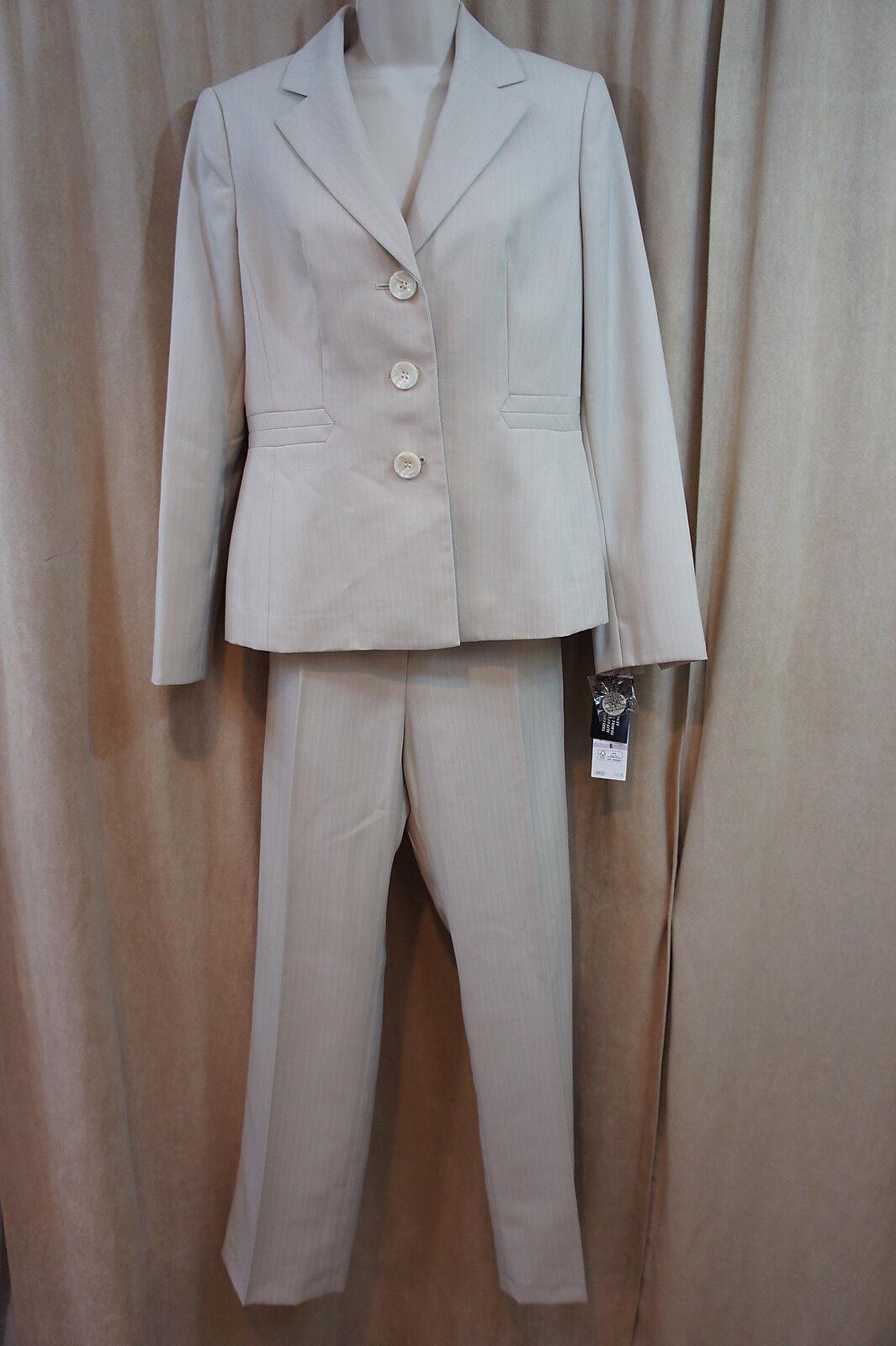 Evan Picone Pant Suit Sz 4 Almond Beige  Newport  Pin Striped Business Suit