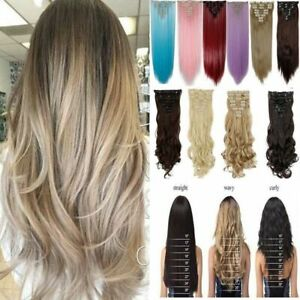 17-23-24-26-Inch-Long-Straight-wavy-as-Remy-Human-Hair-Piece-Hair-Extensions-UK