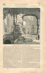 Ruines-des-Thermes-de-Julien-de-Cluny-rue-de-la-Harpe-a-Paris-GRAVURE-PRINT-1834